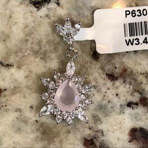 Jewelry - Rose quartz and white sapphire pendant